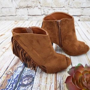 Qupid Open Toe Fringe Ankle Boots